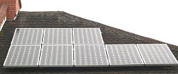 8 solar panels fitted to a semi detahced roof