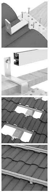 image showing the fixings for solar panels being fitted to a roof