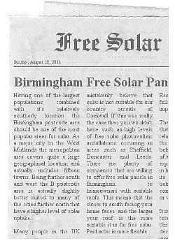 free solar panels Birmingham