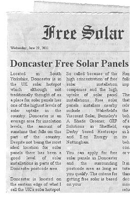 doncaster free solar panels