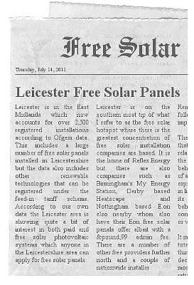 leicester free solar panels