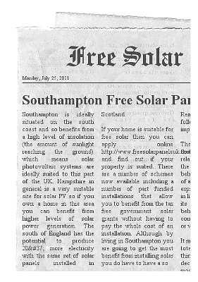 free solar panels southampton