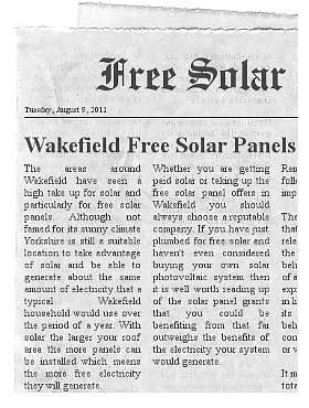 free solar panels Wakefield