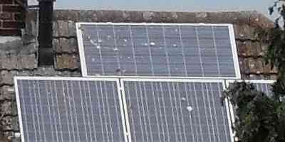 solar panel with bird droppings needs cleaning